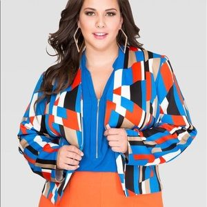 Ashley Stewart GEO SCUBA BLAZER sz 18